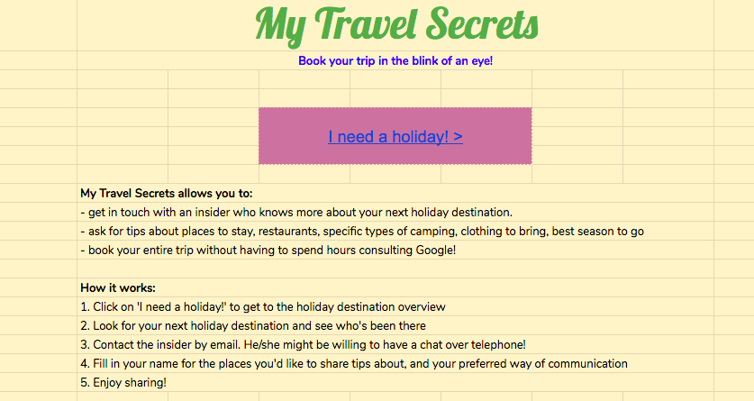 MyTravelSecrets home page